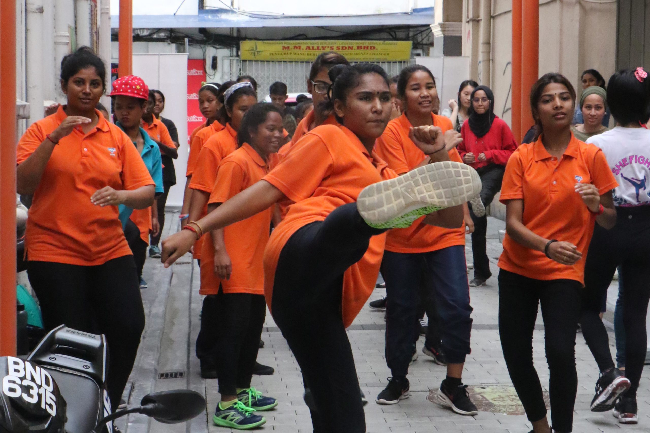 Women participating in self-defense classes as part of SHE Fights, a programme to improve the safety of women in cities