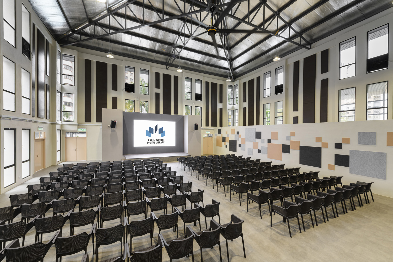 The former badminton court has been transformed into a multipurpose event space