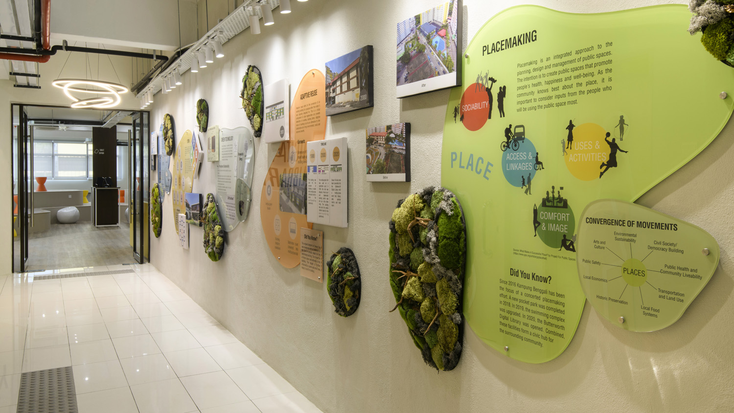 A gallery wall describes the processes in the transformation of the library and the philosophies of adaptive reuse